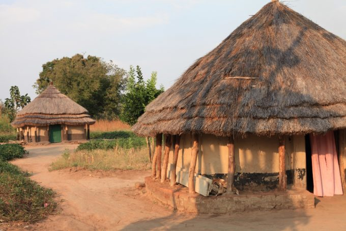 Pictured above are grass thatch huts in Kajokeji, South Sudan