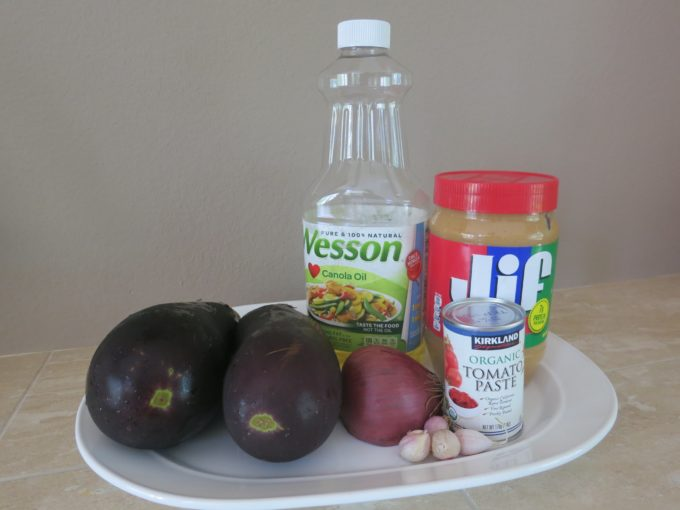 Pictured above are ingredients for Eggplant Salad recipe, Salata Aswad, South Sudan food, Sudanese food