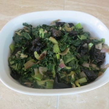 Picture above are Asian Bok Choy greens with black mushrooma