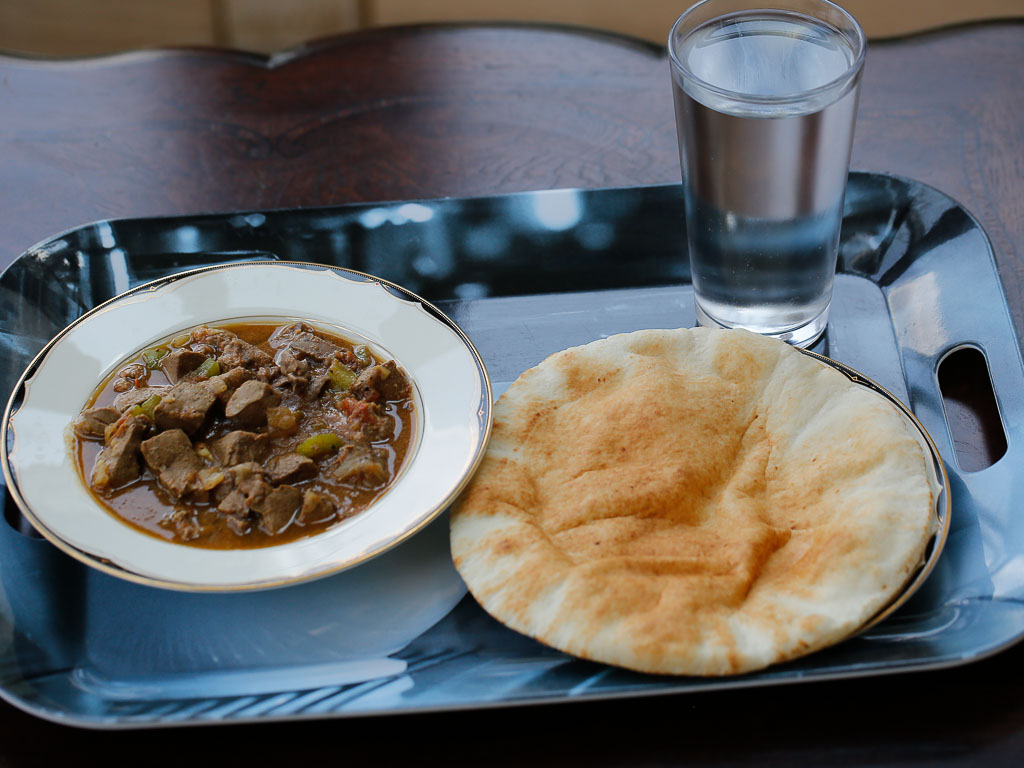 Liver stew serve with pita bread, South Sudanese Style