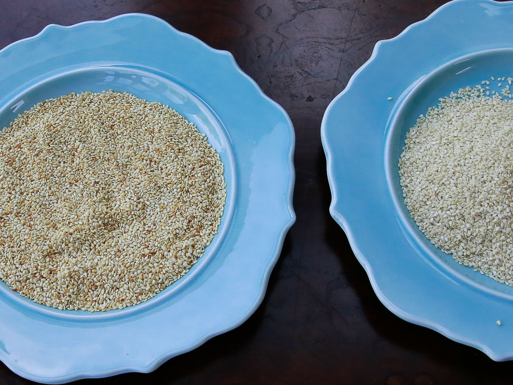 Picture above are sesame seeds, one that is roasted and one that is raw.