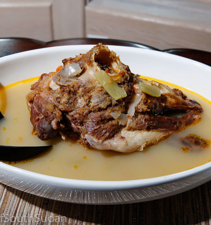 Ras Koruf soup, lamb head soup. South Sudan food, Sudanese food.