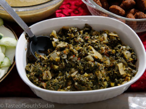 Pictured above is a dish called Sukuma wiki, made with kale and collard greens