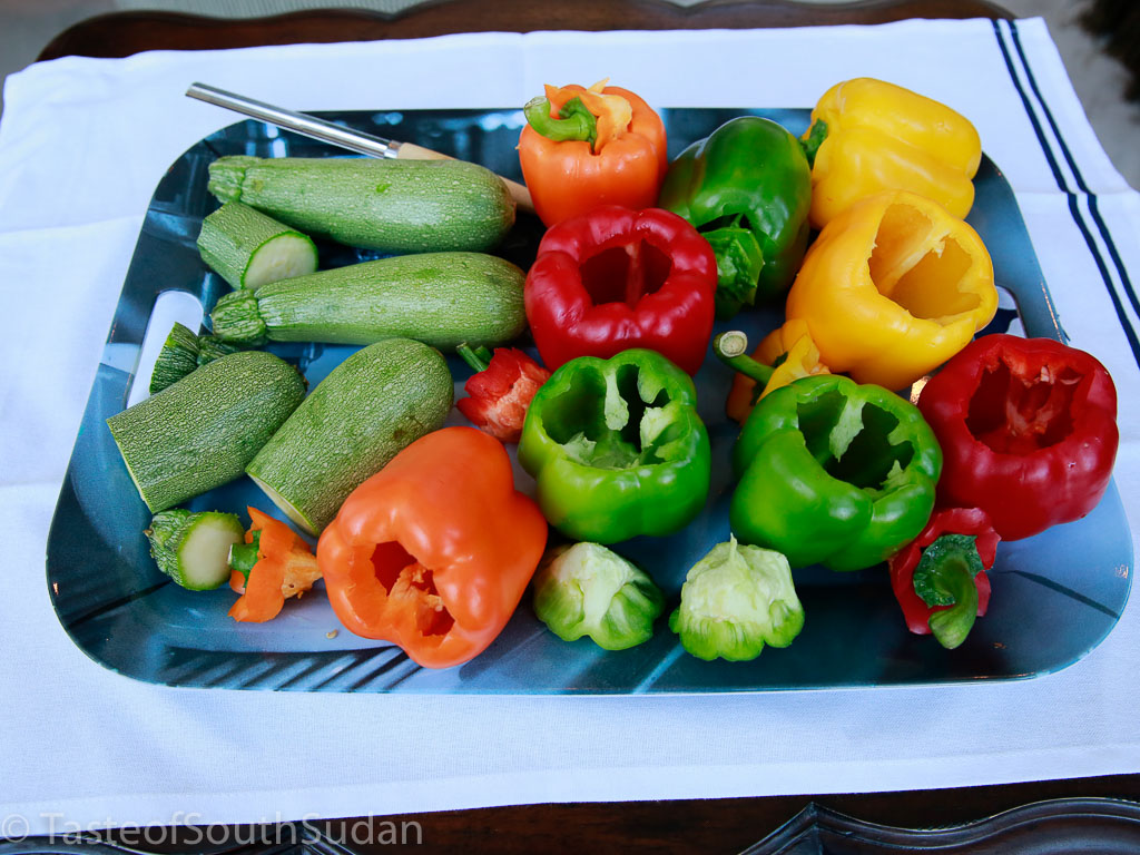 Assorted bell peppers and zucchini, deseeded and cored. South Sudan food, Sudanese food, Mediterranean cuisine.