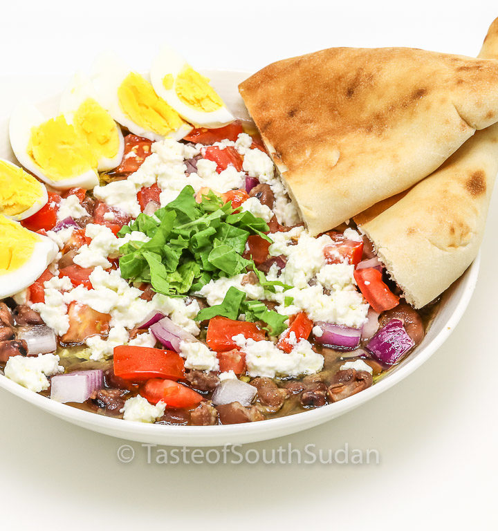 Ful medames Sudanese fava beans salad recipe, sahan ful. Sudanese ful, Egyptian Fava Beans, South Sudan food, ful masri, African food