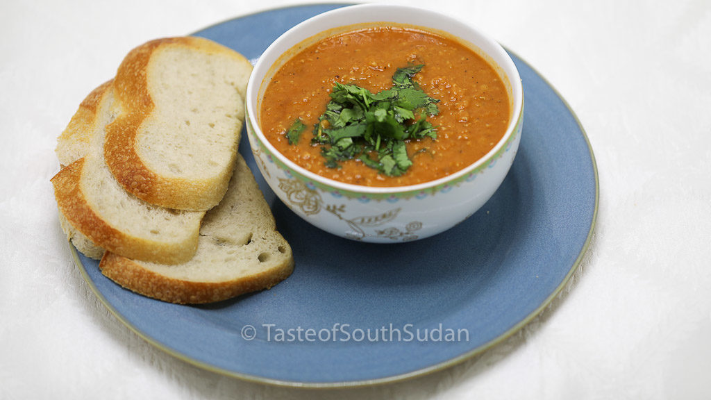 Red Lentils Soup, Addas. Taste of South Sudan. Sudanese food, South Sudan food, African food recipes. Vegetarian soup, gluten free.