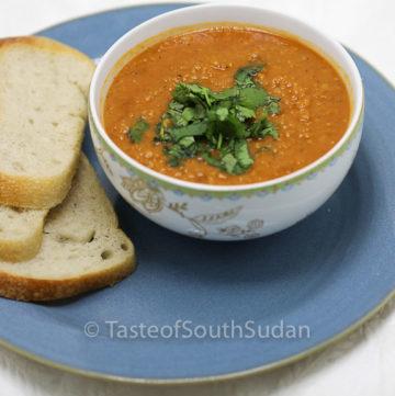 Red Lentils Soup, Addas. Taste of South Sudan. Sudanese food, South Sudan food, African food recipes. Vegetarian soup, gluten free.