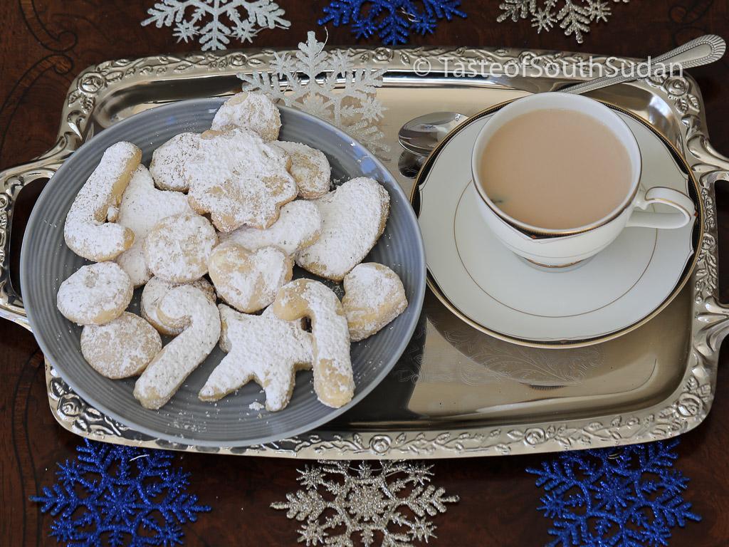 Sudanese Kahk - Sugar Coated Cookies, South Sudan Kahk Taste of South Sudan. Sudanese Kahk. Egyptian Ghorayebah. Sudanese eid cookies, Kahk al Eid. Middle Eastern Dessert. South Sudan Christmas Cookies