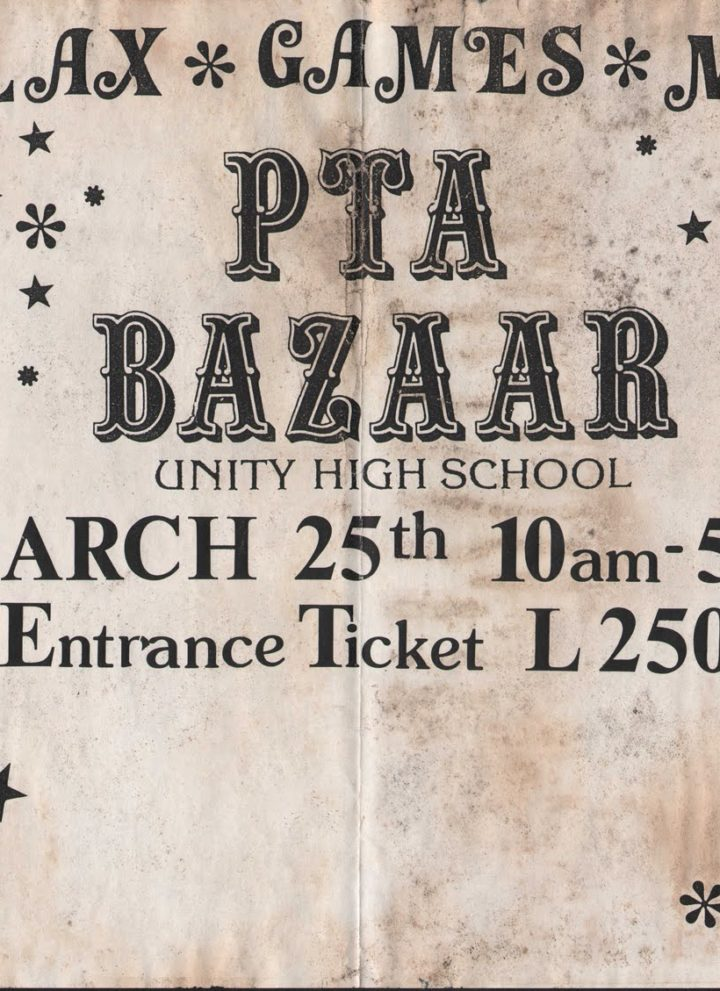 Unity High School PTA Bazaar Poster 1994 - Taste of South Sudan